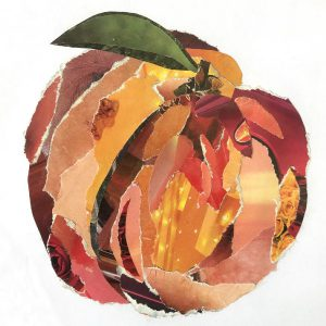 Peach collage made from torn magazine paper