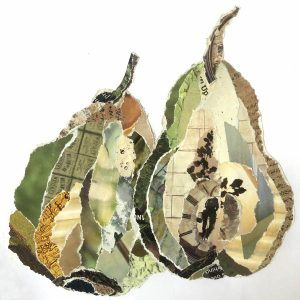 Pear collage made from torn magazine photos